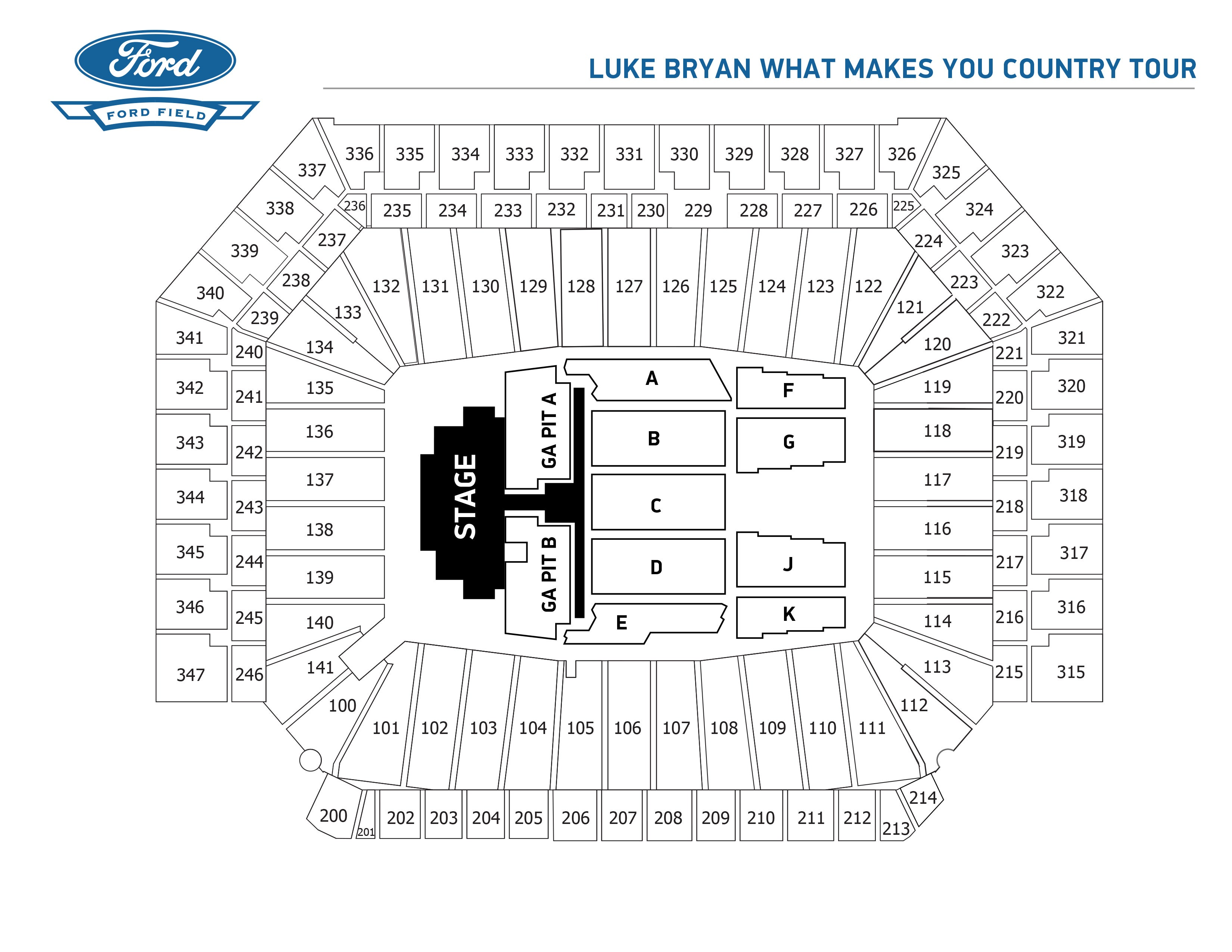 Luke bryan what makes you country tour xl stadium sized ford field view seating chart kristyandbryce Image collections