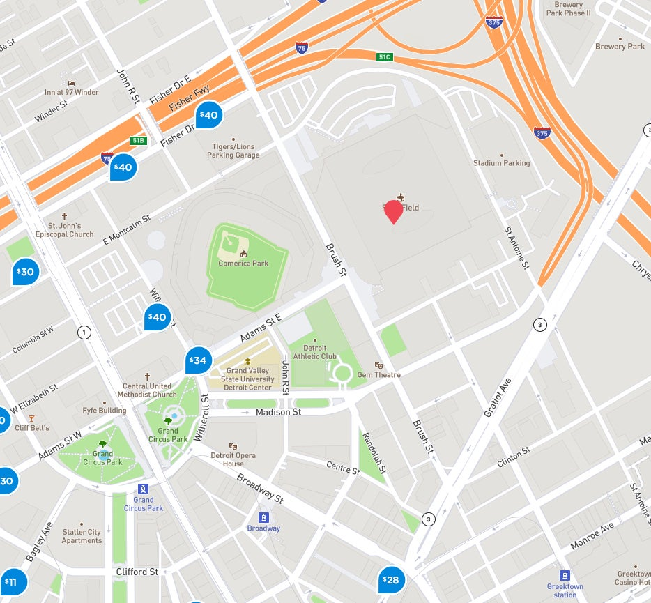 Parking Maps | Ford Field